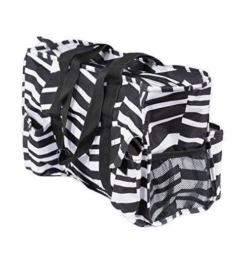 7-Pocket Tote Bag With Zipper (Black and White Zig Zag)