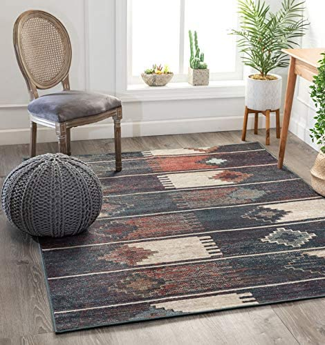 Well Woven Santo Blue Tribal Patchwork Pattern Area Rug 5×7 5 3 x 7 3