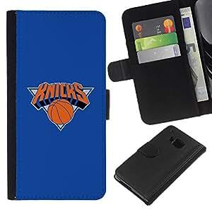 KNICKS Baloncesto - la tarjeta de Crédito Slots PU Funda de cuero Monedero caso cubierta de piel Para HTC One M7