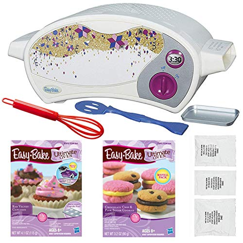 FLASH PARTY Easy Bake Oven Star Edition + Red Velvet Cupcakes Refill + Chocolate Chip and Pink Sugar Cookies Refill + Mini Whisk. (Oven Easy Bake Hasbro)