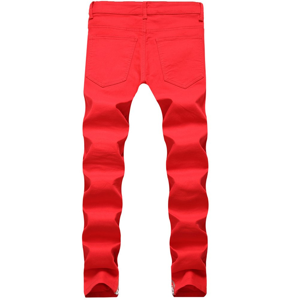 LIYT Mens Fashion Patch Hole Slim Fit Ripped Jeans Trousers