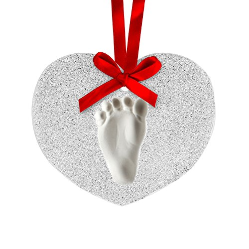 Lil Peach Babyprints Handprint or Footprint Glitter Holiday Ornament Kit to Capture Baby's Print, Heart, Silver]()