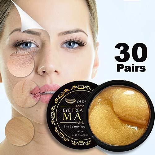 Metal Eye Mask (24K Gold Eye Mask Under Eye Pads Under Eye Bag Collagen Eye Treatment Masks for Anti Aging, Under Eye Masks Patches for Dark Circles & Puffiness Anti Wrinkle, Moisturising, Whitening)