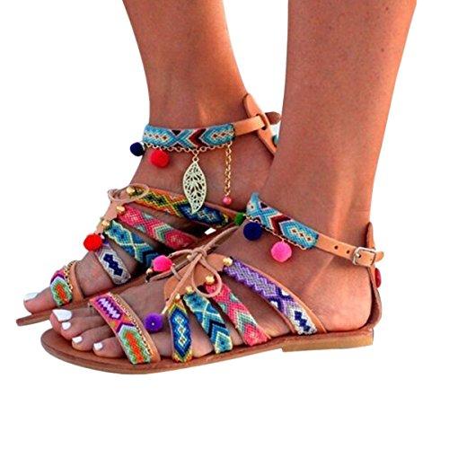958b9861 Digood Strand Sandaler For Kvinner, Damer Ungjenter Lav Hæl Komfortabel  Bohemia Sandal Uformell Sko Flerfarget