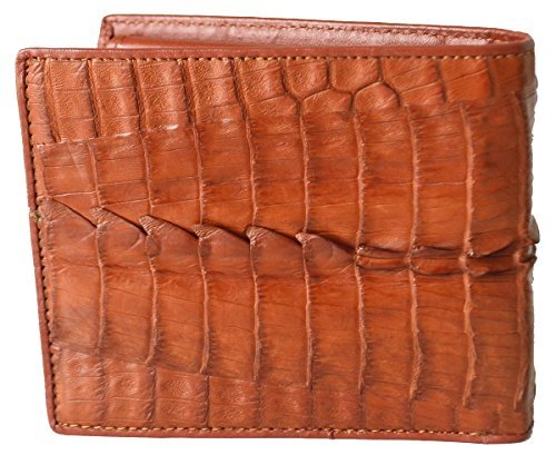 Authentic M Crocodile Skin Men's Bifold Crocodile Tail Skin Leather Tan (Exotic Skin Wallets)