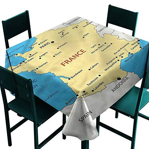 DONEECKL Antifouling Tablecloth Wanderlust France Mediterranean Sea Table Decoration W54 -