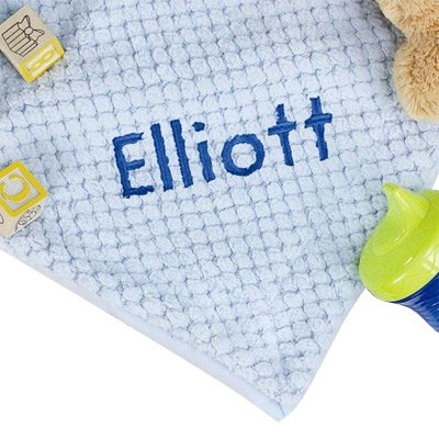 Personalized Blue Baby Blanket, 30 x 40, Soft Fleece, Blue Embroidery by GiftsForYouNow   B01477QCLC