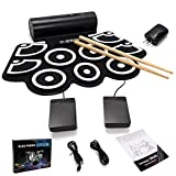GHP Roll Up Silicone Electronic Drum Set with Built-In Speakers Pedals & Drum Sticks