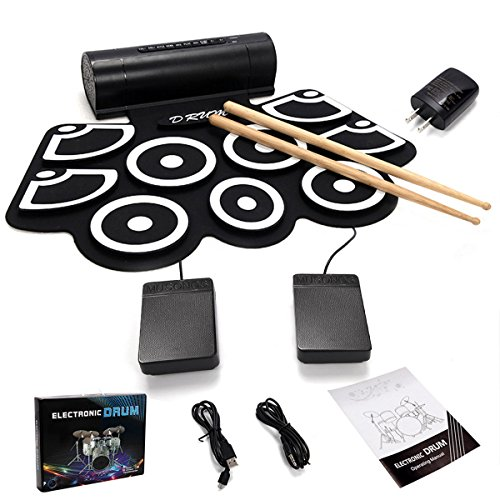 GHP Roll Up Silicone Electronic Drum Set with Built-In Speakers Pedals & Drum Sticks by Globe House Products