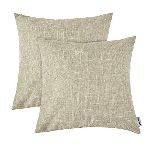 Beige Creme - Sunday Praise Supersoft Cotton Linen Square Throw Cushion Cover Case Classical Solid Color Pillowcase for Living Room/Farmhouse Decoration,Quality Hidden Zipper,18x18 inch(2 Piece,Beige)