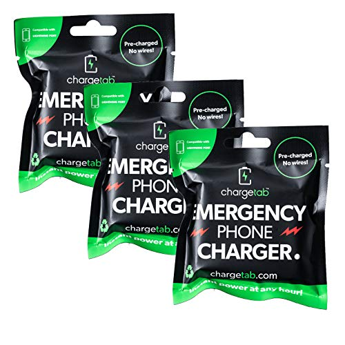 ChargeTab Emergency Phone Charger 3 Pack Compatible with iPhone ()