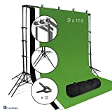 LimoStudio Photo Video Studio 6 Legs Background Stand Backdrop Support System Kit with Carry Bag for Photography, Black, White, Green, Premium Quality Backdrop, AGG2671