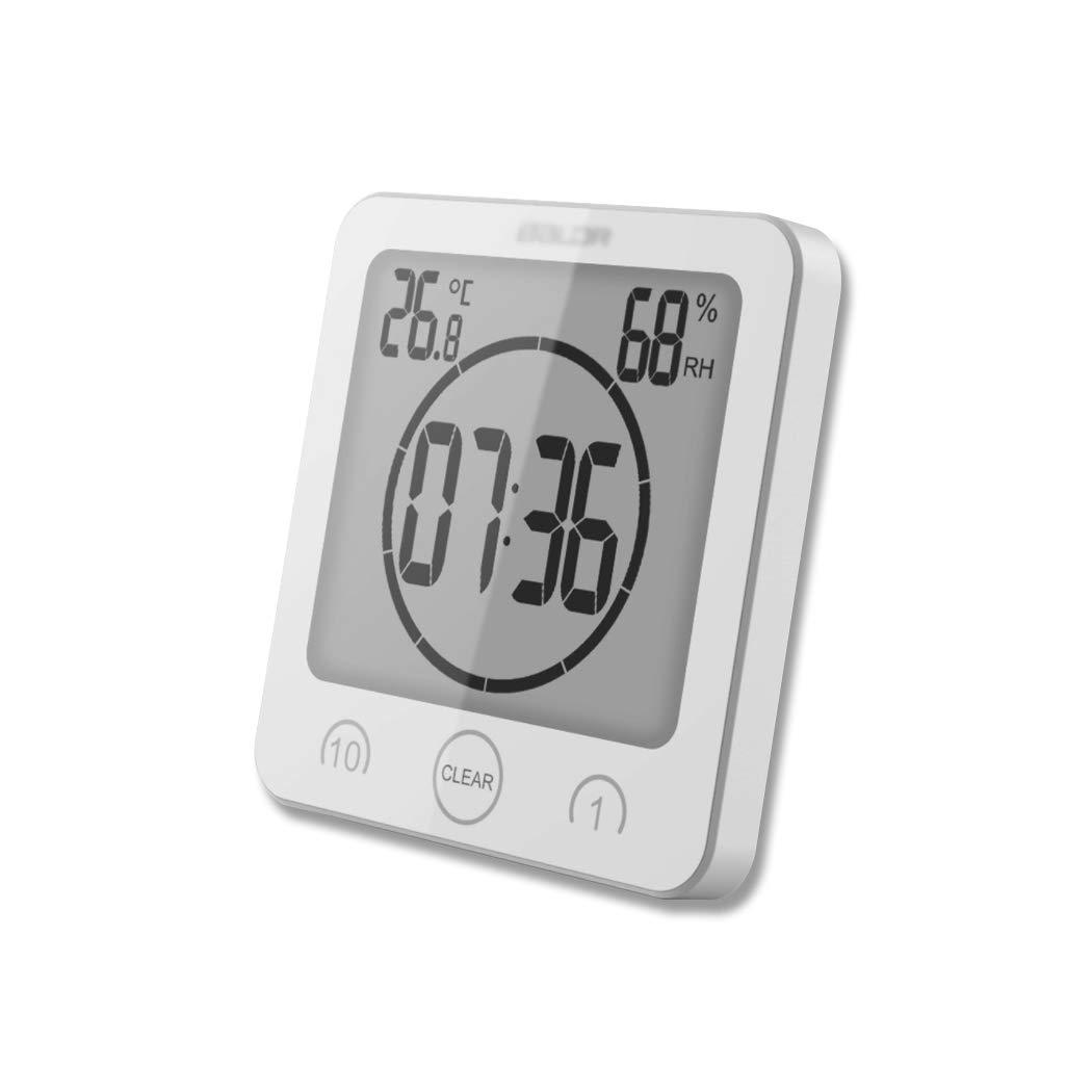 FLYDEER Bathroom Shower Clock Digital Clock Timer Large LCD Display Touch Screen Timer with Temperature Humidity Display for Bathroom Shower Kitchen (White) Kingrui