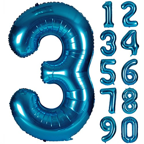 40 Inch Numbers 0-9 Birthday Party Decorations Helium Foil Mylar Number Balloon Blue Digital 3