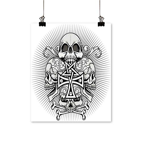 "1 Piece Wall Art Painting gothi Coat rms Skull Cross Grunge Vintage Design t Shirts Living Room Office Decoration,28"" W x 48"" L/1pc(Frameless)"