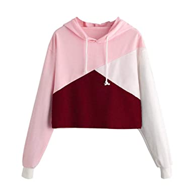 lowest price be229 3ae81 Goosuny Damen Colorblock Kapuzenpullover Kurz Jumper mit ...