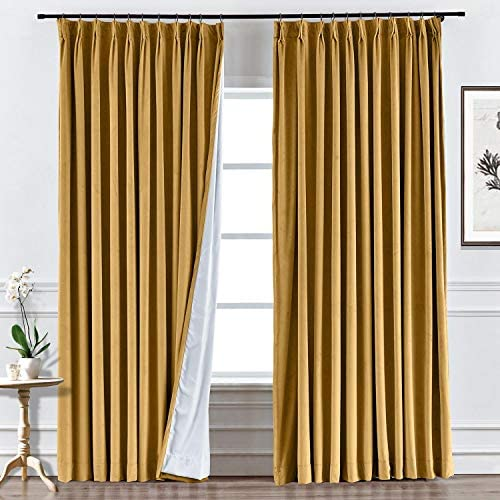 Macochico Extra Long Blackout Velvet Curtains Pinch Pleated Room Darkening Drape