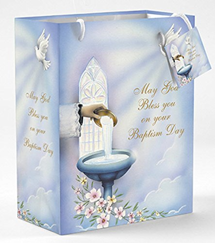 Baptism Gift Bags with Tissue Paper- Gloss Finish with Hook for Easy Hanging and Gift Card Attached Sold in Packs of 12 (Card Religious Album)