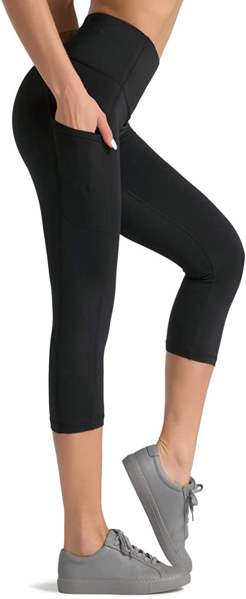Dragon Fit High Waist Yoga Pants Capri with 3 Pockets,Tummy Control Workout Running Capri 4 Way Stretch Yoga Leggings: Clothing