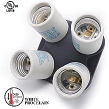 eTopLighting Porcelain Four Head Light Bulb Socket Splitter E26/E27 Edison Base 4-in-1 Lamp Splitter Bulb Adapter, 250V Max 660 Wattage, APL1674