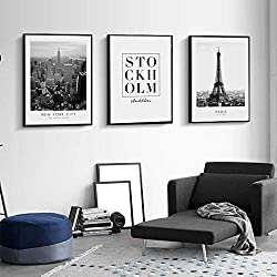 LIEFENGDAO Canvas Print Painting,3 Piece Eiffel Tower City Modern Black and White,Canvas Painting Wall Art Posters Prints No Frame Pictures Living Room Home Decoration,70X100Cm
