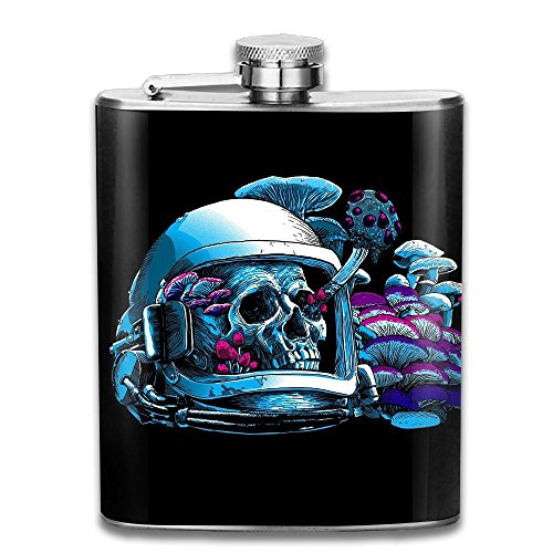 WUGOU Stainless Steel Hip Flask 7 Oz (No Funnel) Space Skull Astronaut Full Printed