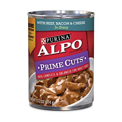 Purina ALPO Gravy Adult Wet Dog Food, Prime Cuts With Beef, Bacon & Cheese - (12) 13.2 oz. Cans