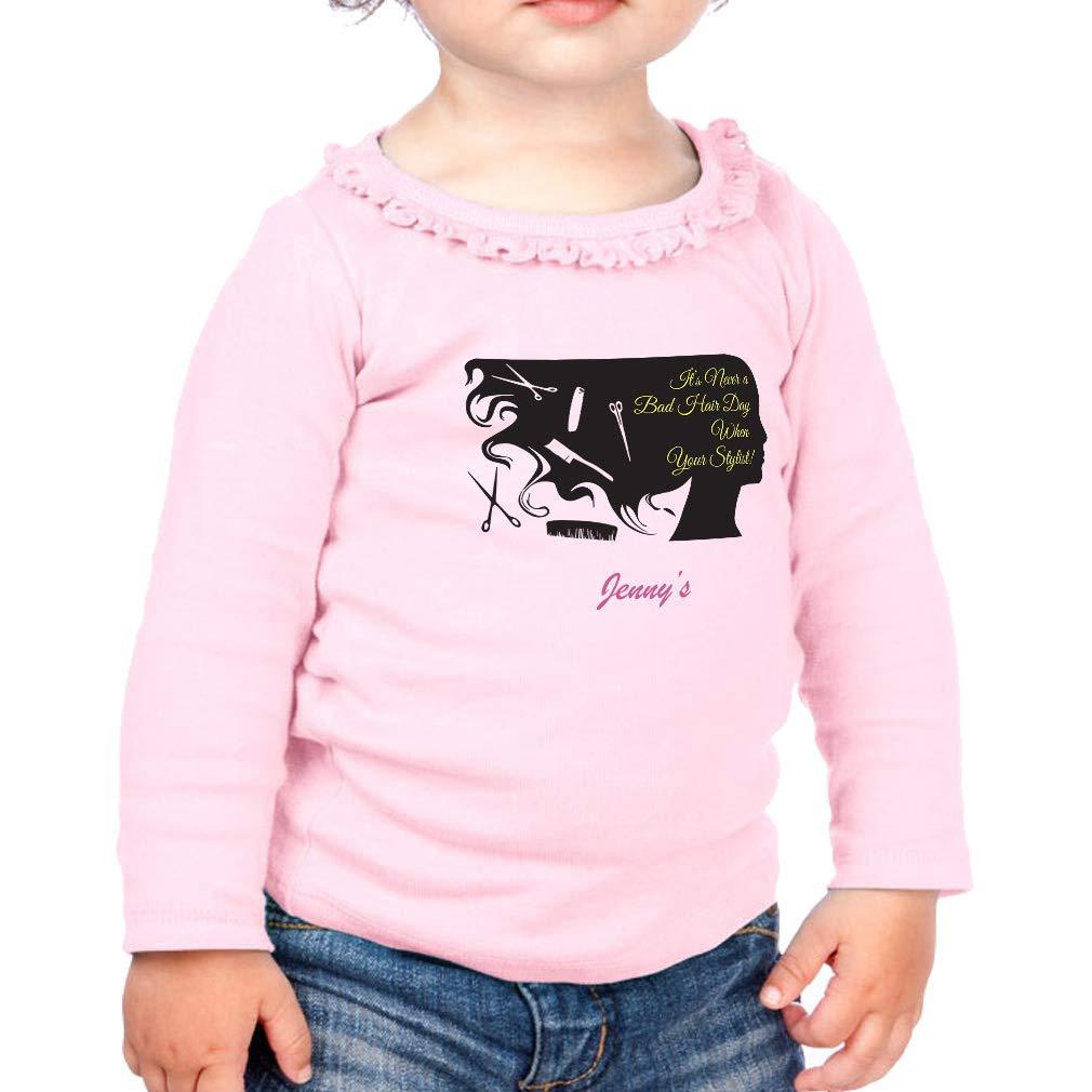 Custom a Bad Hair Day Cotton Girl Toddler Long Sleeve Ruffle Shirt Top