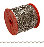 """Campbell 0710227 Hobby and Craft Sash Chain, Chrome Plated, 2 Trade, 0.016"""" Diameter, 29 lbs Load Capacity, 164 Feet Reel"""
