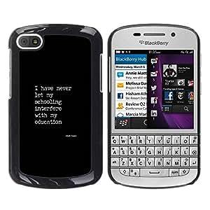 TopCaseStore / la caja del caucho duro de la cubierta de protección de la piel - Text Poster Quote Education - BlackBerry Q10