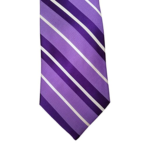 Addison Purple Stripe 100% Silk 3.5 Inch Wide Necktie