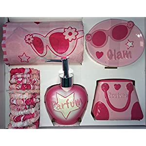 Perfume, Glam, Pink - 5 Piece Bathroom Set - Shower Curtain, Rings, Ceramic Soap Dish, Toothbrush Holder and Pump