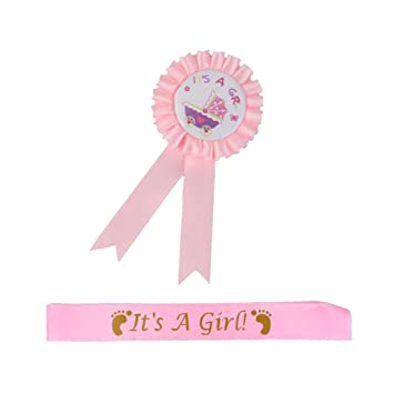 It is a Girl Pink LOVIVER Baby Shower Mum To Be Sash Party Gift Ribbon Accessory Sash Pink Blue White 81 x 10 cm