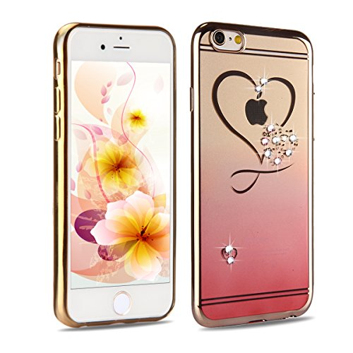 iPhone 6 Case, iPhone 6S Case,UZZO iPhone 6 6S 4.7 inch Gold Plating Bumper TPU Case Cover with Love Heart Design Inside Glitter Diamond Crystal Clear TPU Case Cover for iPhone 6/6S (Red)