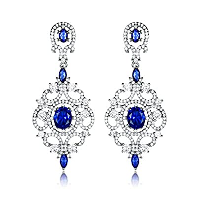 Top GULICX Dangle Earrings for Women Silver Tone Sapphire- Color Royal Long Style