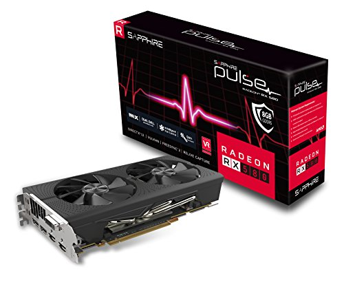 Sapphire Technology Technology 11265-05-20G Radeon Pulse RX 580 8GB GDDR5 Dual HDMI/ DVI-D/ Dual DP OC with Backplate (UEFI) PCI-E Graphics Card Graphic Cards