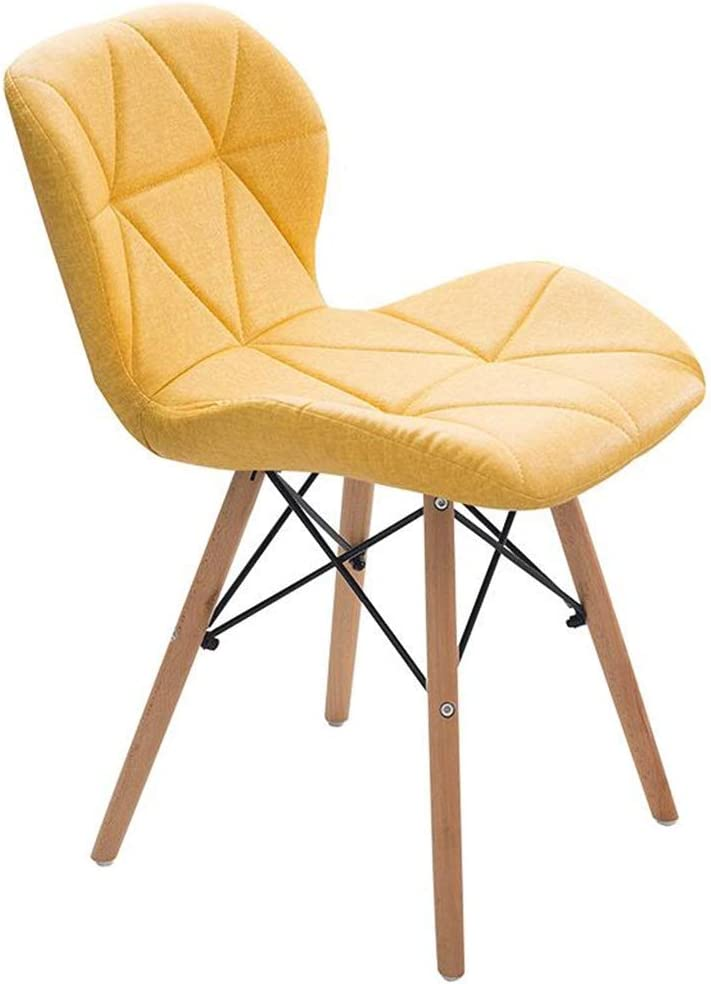 WFF Bar stools Pre-Assembled Modern Mid-Century Side Chair, PU Chair with Wooden Feet, Kitchen Lounge, Dining Room, Bedroom, (Yellow)