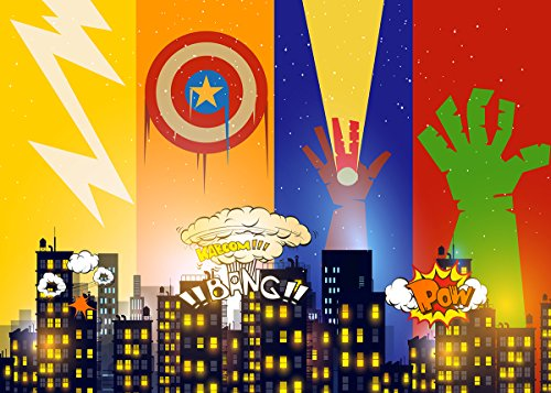 Superhero Cityscape Photography Backdrop and Party Masks for Children 6 Piece - Birthday Party and Event Decorations -