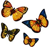 [4 Count Set] Custom and Unique Small Assorted Cute Garden Wildlife Artistic Abstract Fluttering Stained Glass Butterflies Iron On Embroidered Applique Patch {Yellow, Blue, Orange & Black Colors}