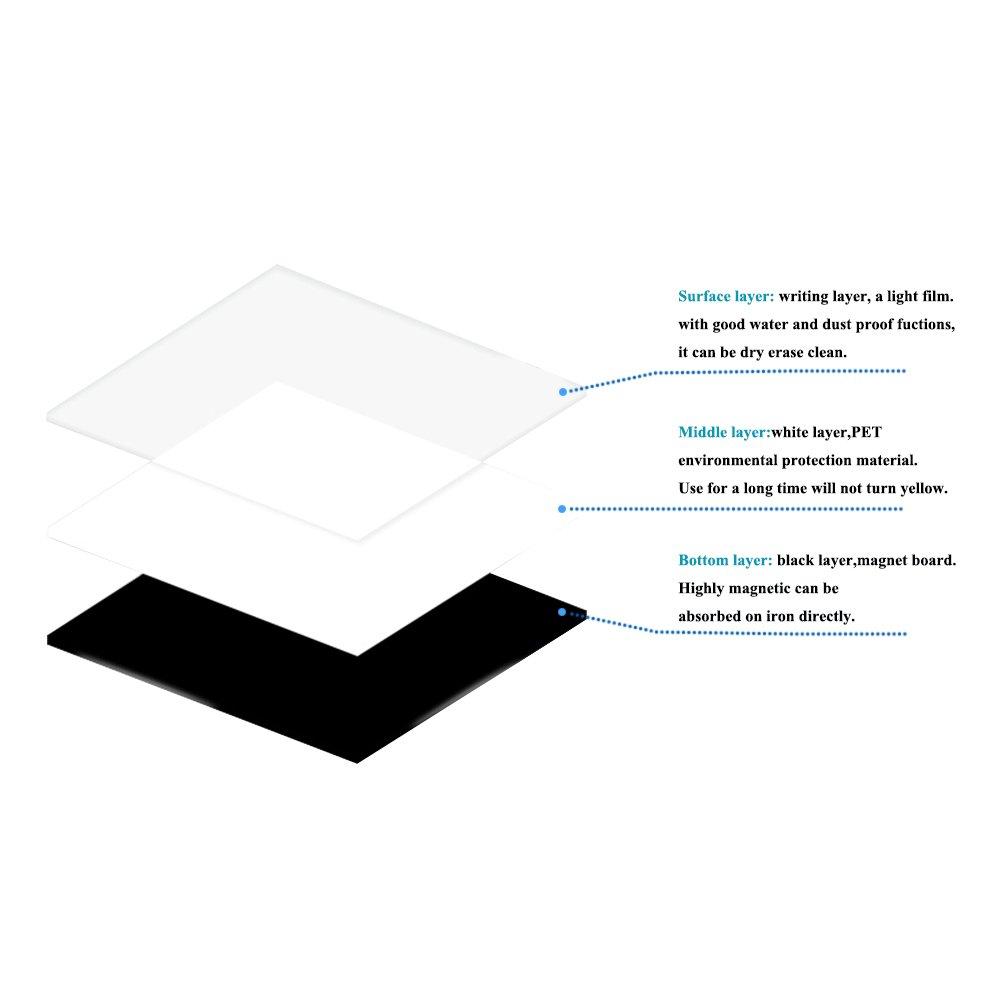 Hoja magnética para pizarra blanca de borrado en seco para nevera de 40 x 30 cm: incluye 4 marcadores y gran borrador con imanes. Organizador de lista de ...