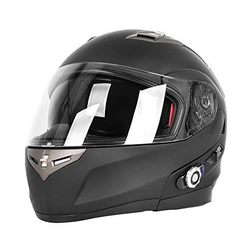 Motorcycle Bluetooth Helmet, FreedConn BM2-S Bluetooth Integrated Modular Flip up Dual Visors Full Face Motorcycle Helmet Built-in Intercom Communication Range 500M FM Radio (X-Large, Matte -