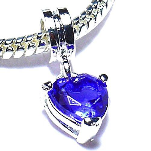 Charm Buddy Purple Crystal Rhinestone Heart Dangle Charm Fits Silver Pandora Style Bracelets