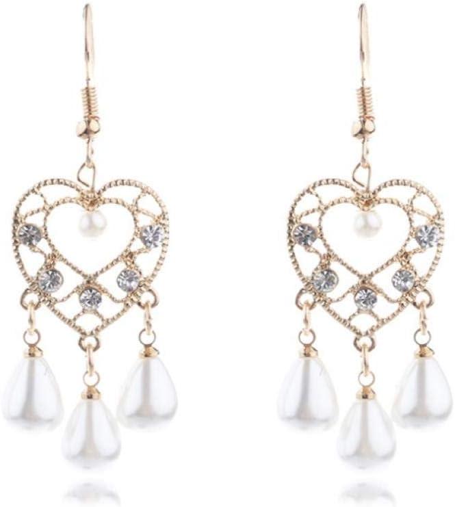 Empty Pendientes Colgantes de Perlas de Gota de Agua de corazón para Mujer Accesorios de Moda Pendientes de Diamantes de imitación