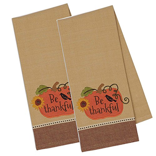 (DII Cotton Embroidered Thanksgiving Dish Towels, 18x28