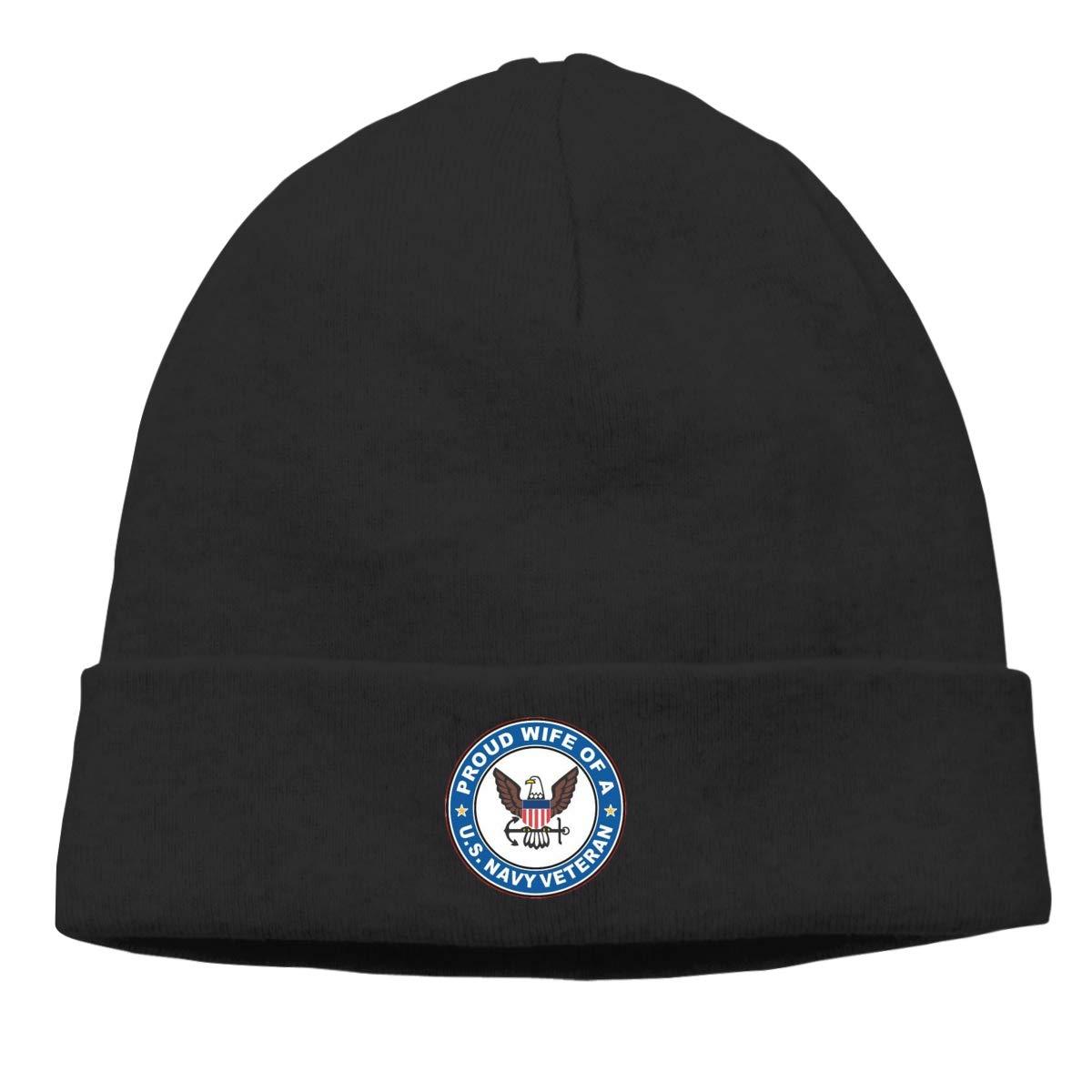 Nskngr US Navy Veteran Proud Wife Mens/&Womens Stretchy /& Soft Knit Cap Skully