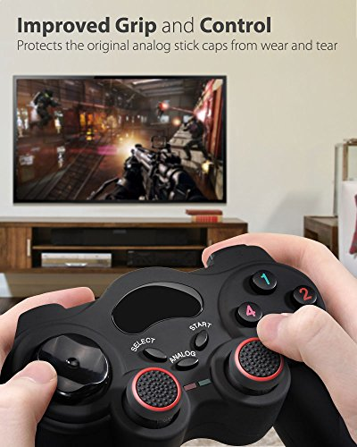 Fosmon [Set of 4 Analog Stick Joystick Controller Performance Thumb Grips for PS4   PS3   Xbox One   Xbox 360   Wii U (Black & Red)