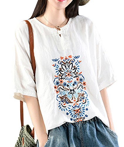 (YESNO YB5 Women Casual Loose Embroidered Blouse Shirt 100% Linen Chinese Traditional Frogs Short Sleeve)