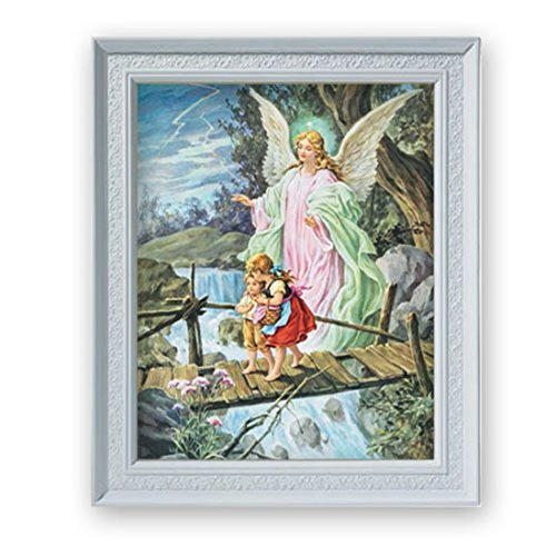 Children with Guardian Angel Print in 11 1/2 Inch Frame ()