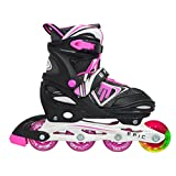 Epic Fury Black & Pink Adjustable Inline Skates w/Front LED Light up Wheel!! (No Batteries Needed)