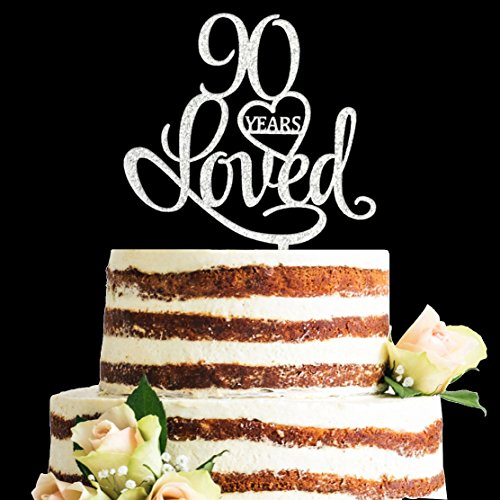Glitter Silver Acrylic 90 Years Loved Cake Topper, 90th Birthday Anniversary Party Decorations (90, Silver)]()